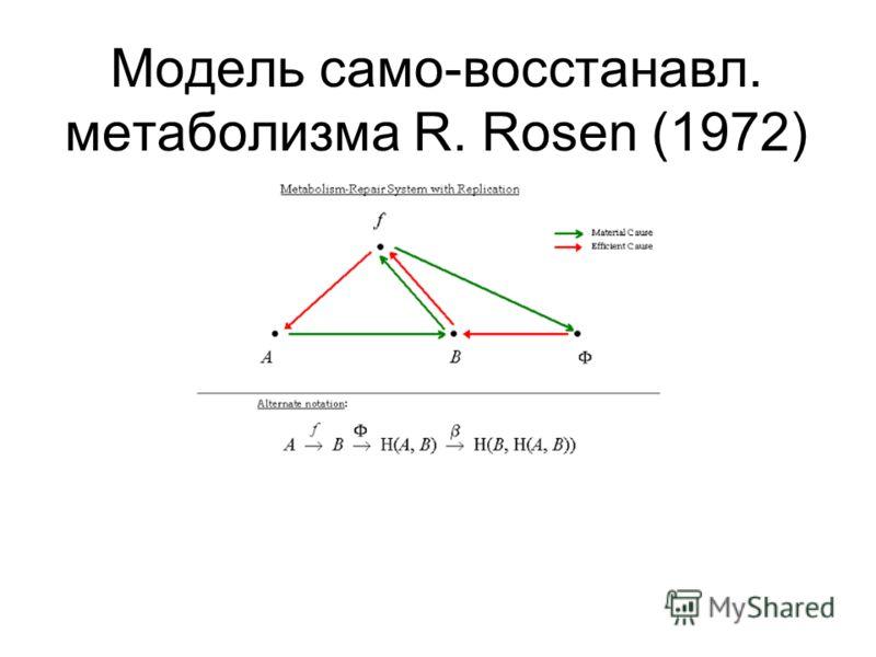 Модель само-восстанавл. метаболизма R. Rosen (1972)