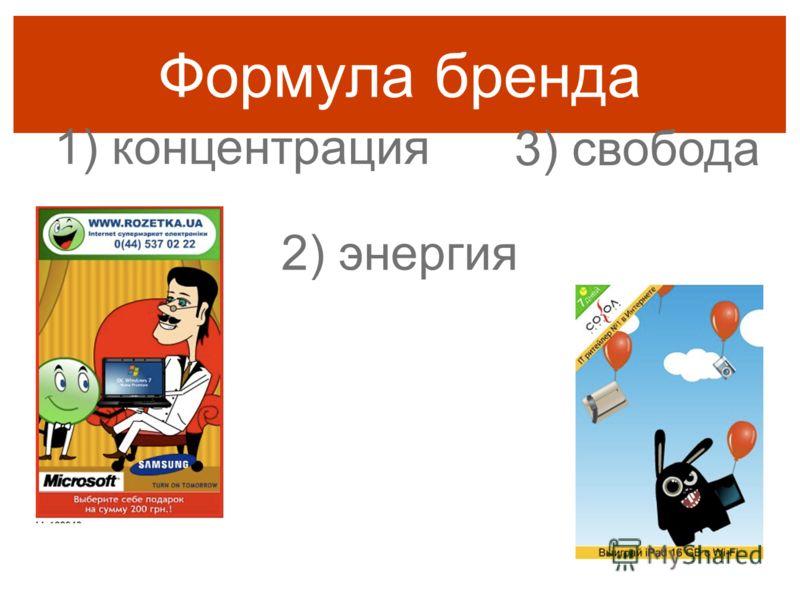 Формула бренда 1) концентрация 2) энергия 3) свобода
