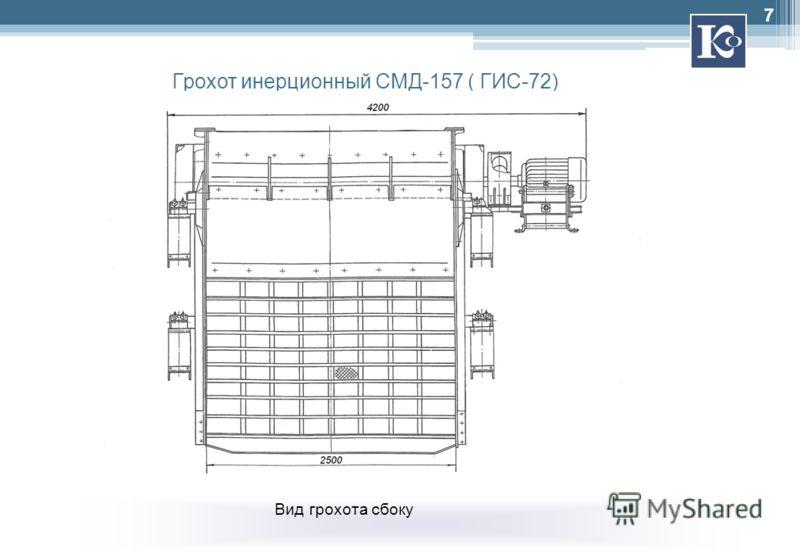 Грохот инерционный СМД-157 ( ГИС-72) Вид грохота сбоку 7