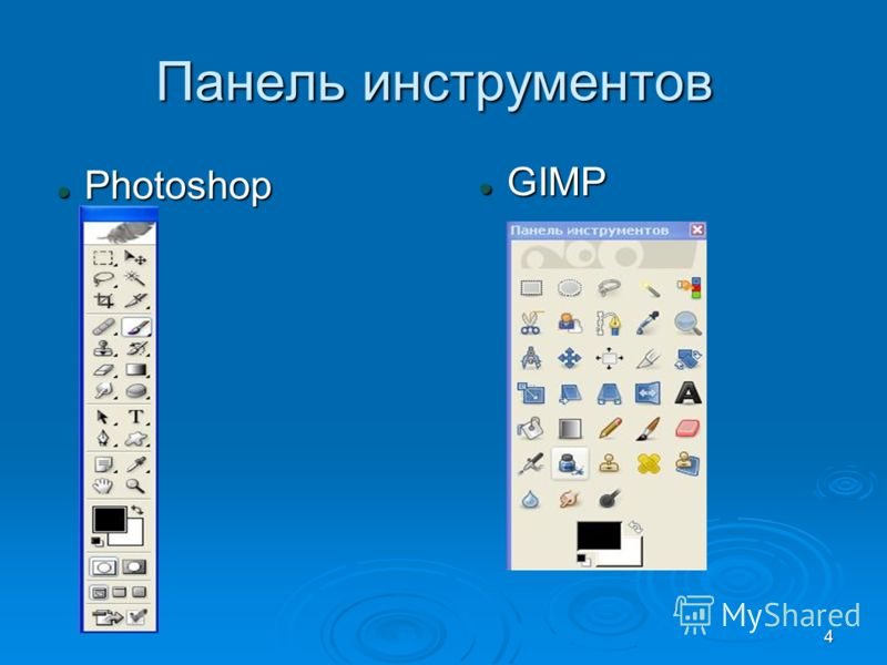 4 Панель инструментов Photoshop Photoshop GIMP GIMP