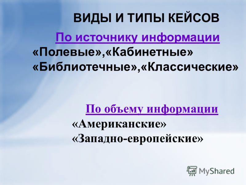 ВИДЫ И ТИПЫ КЕЙСОВ По источнику информации «Полевые»,«Кабинетные» «Библиотечные»,«Классические» По объему информации «Американские» «Западно-европейские»