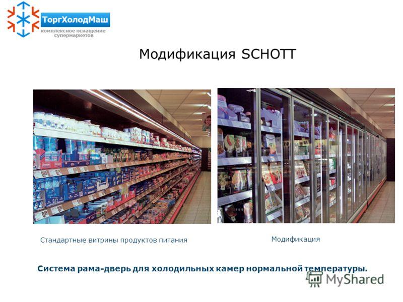 Стандартные витрины продуктов питания Модификация Система рама-дверь для холодильных камер нормальной температуры. Модификация SCHOTT