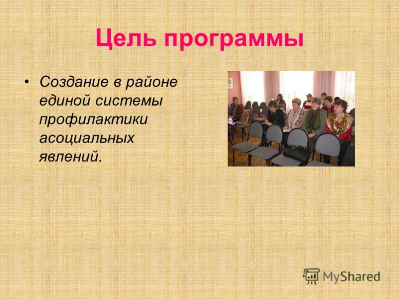 Цель программы Создание в районе единой системы профилактики асоциальных явлений.