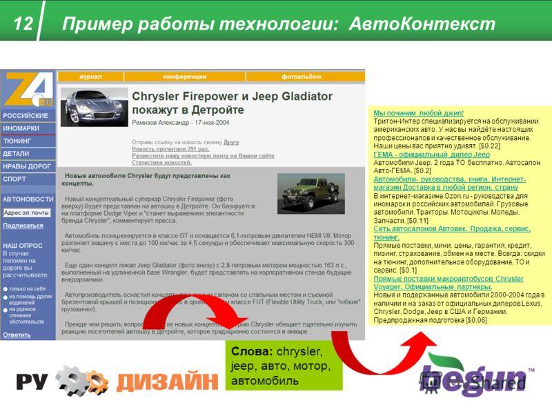 12 Пример работы технологии: АвтоКонтекст Мы починим любой джип! Мы починим любой джип! Тритон-Интер специализируется на обслуживании американских авто. У нас вы найдёте настоящих профессионалов и качественное обслуживание. Наши цены вас приятно удив