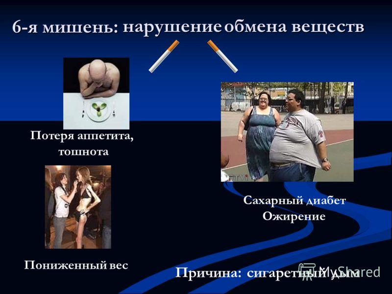 6-я мишень: Сахарный диабет Ожирение Пониженный вес Потеря аппетита, тошнота нарушение обмена веществ Причина: сигаретный дым