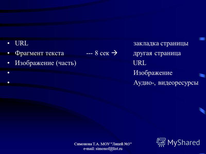Симонова Т.А. МОУ Лицей 3 e-mail: simonof@list.ru URL закладка страницы Фрагмент текста --- 8 сек другая страница Изображение (часть) URL Изображение Аудио-, видеоресурсы