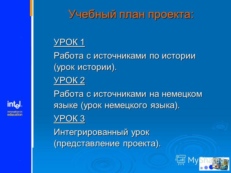 Учебный план проекта: УРОК 1 Работа с источниками по истории (урок истории). УРОК 2 Работа с источниками на немецком языке (урок немецкого языка). УРОК 3 Интегрированный урок (представление проекта).