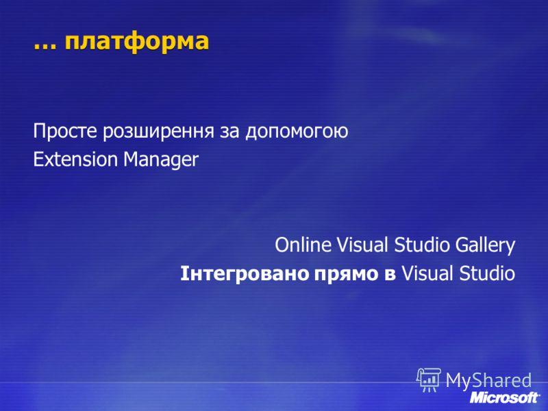 … платформа Просте розширення за допомогою Extension Manager Online Visual Studio Gallery Інтегровано прямо в Visual Studio