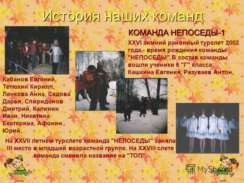История наших команд КОМАНДА НЕПОСЕДЫ-1 XXVI зимний районный турслет 2002 года - время рождения команды