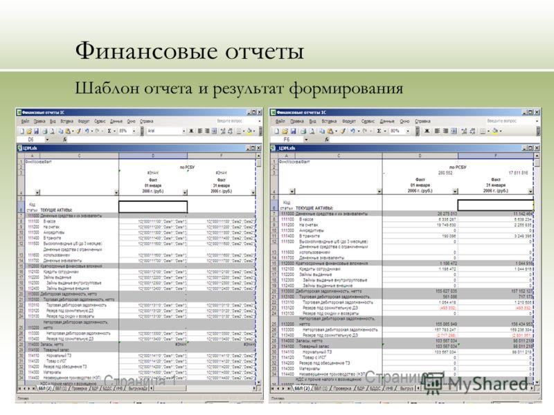 Финансовые отчеты Шаблон отчета и результат формирования