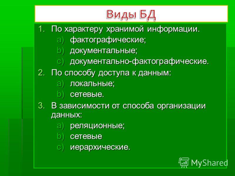 1.По характеру хранимой информации. a)фактографические; b)документальные; c)документально-фактографические. 2.По способу доступа к данным: a)локальные; b)сетевые. 3.В зависимости от способа организации данных: a)реляционные; b)сетевые c)иерархические