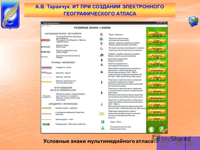А.В. Таранчук. ИТ ПРИ СОЗДАНИИ ЭЛЕКТРОННОГО ГЕОГРАФИЧЕСКОГО АТЛАСА Главное меню электронного атласа