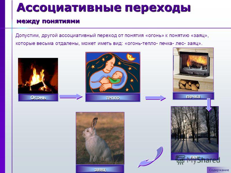 Допустим, другой ассоциативный переход от понятия «огонь» к понятию «заяц», которые весьма отдалены, может иметь вид: «огонь-тепло- печка- лес- заяц». Ассоциативные переходы между понятиями СодержаниеОгонь тепло печка заяц лес
