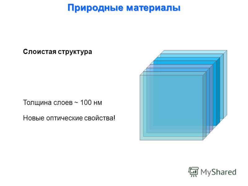 Слоистая структура Природные материалы Толщина слоев ~ 100 нм Новые оптические свойства!