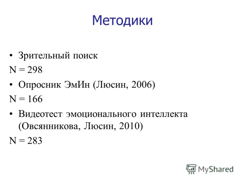 Методики Зрительный поиск N = 298 Опросник ЭмИн (Люсин, 2006) N = 166 Видеотест эмоционального интеллекта (Овсянникова, Люсин, 2010) N = 283