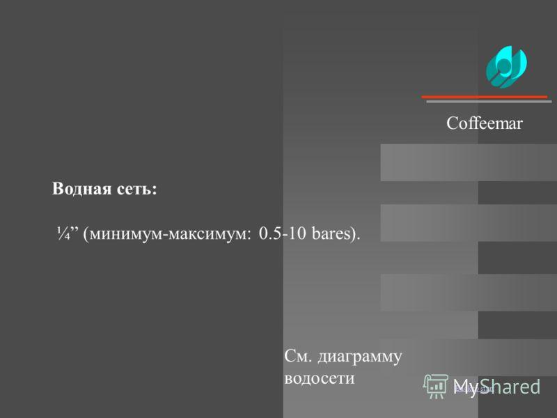 Back to start Водная сеть: ¼ (минимум-максимум: 0.5-10 bares). Coffeemar См. диаграмму водосети