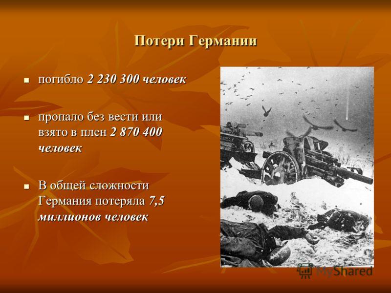 Потери Германии погибло 2 230 300 человек погибло 2 230 300 человек пропало без вести или взято в плен 2 870 400 человек пропало без вести или взято в плен 2 870 400 человек В общей сложности Германия потеряла 7,5 миллионов человек В общей сложности