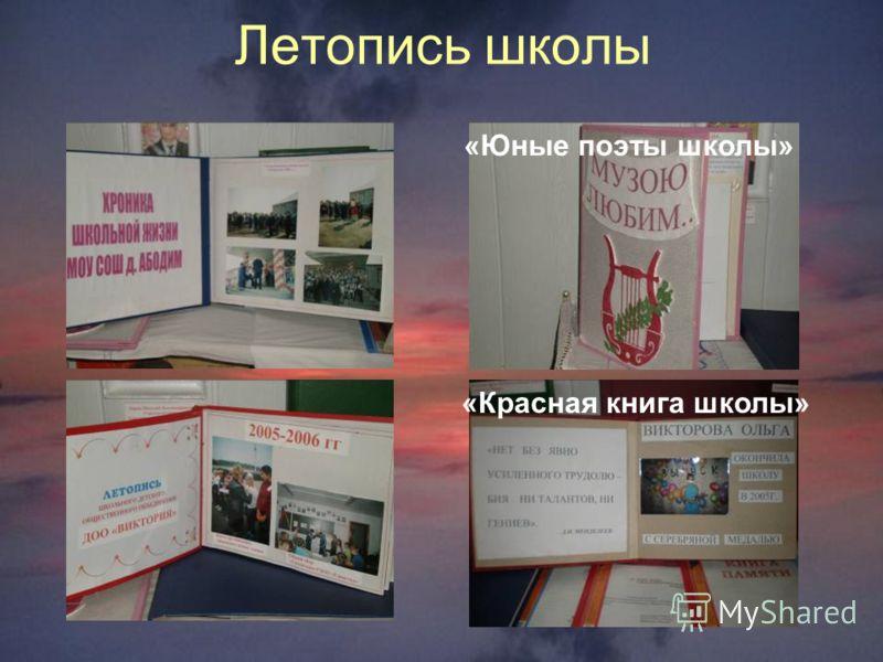 Летопись школы «Юные поэты школы» «Красная книга школы»