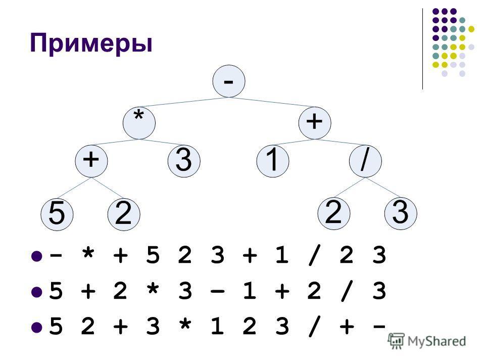 Примеры - * + 5 2 3 + 1 / 2 3 5 + 2 * 3 – 1 + 2 / 3 5 2 + 3 * 1 2 3 / + -