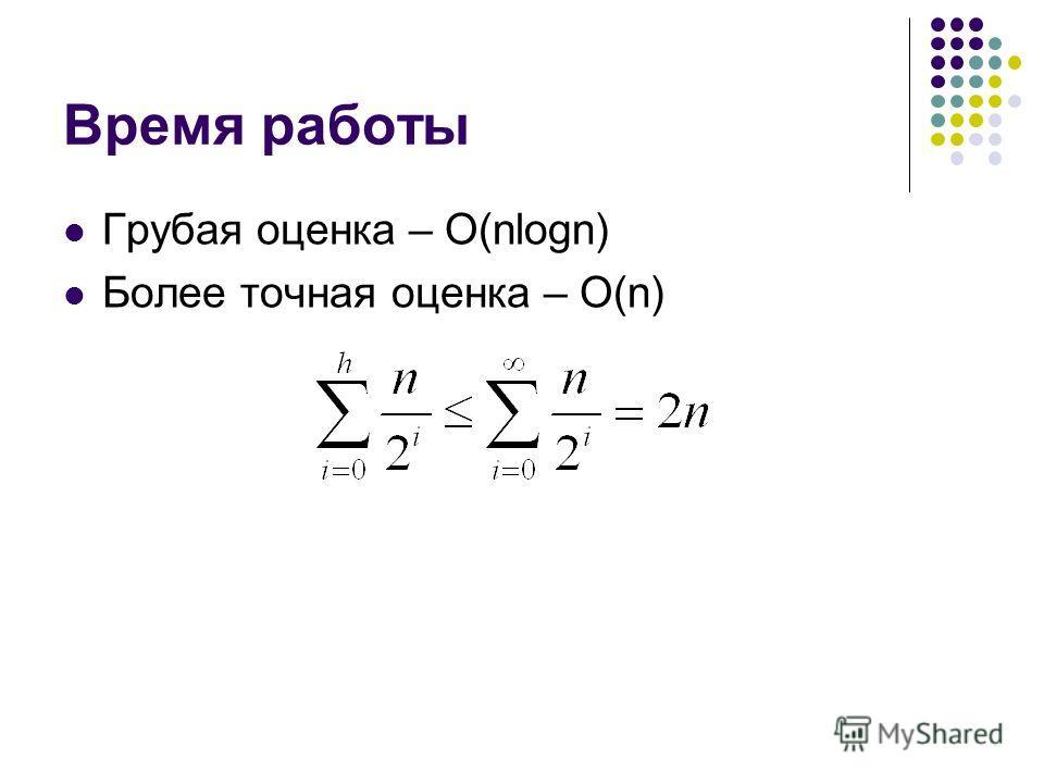 Время работы Грубая оценка – O(nlogn) Более точная оценка – O(n)