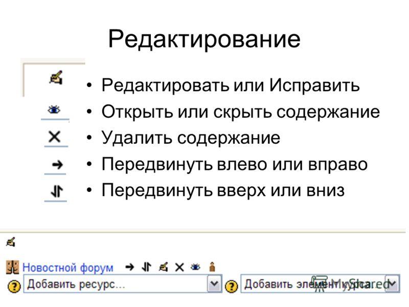Редактирование Редактировать или Исправить Открыть или скрыть содержание Удалить содержание Передвинуть влево или вправо Передвинуть вверх или вниз