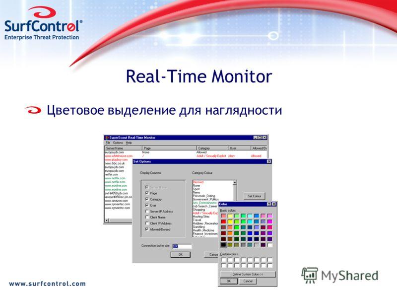 Real-Time Monitor Цветовое выделение для наглядности