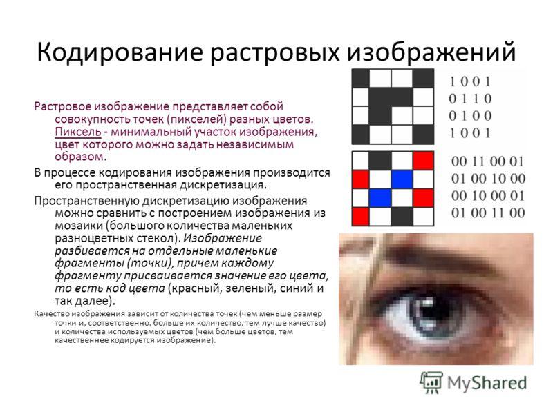 Кодирование растровых изображений Растровое изображение представляет собой совокупность точек (пикселей) разных цветов. Пиксель - минимальный участок изображения, цвет которого можно задать независимым образом. В процессе кодирования изображения прои