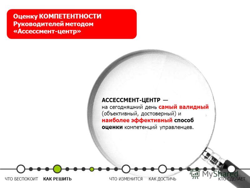 АССЕССМЕНТ-ЦЕНТР на сегодняшний день самый валидный (объективный, достоверный) и наиболее эффективный способ оценки компетенций управленцев. Оценку КОМПЕТЕНТНОСТИ Руководителей методом «Ассессмент-центр» ЧТО БЕСПОКОИТКАК РЕШИТЬЧТО ИЗМЕНИТСЯКАК ДОСТИЧ