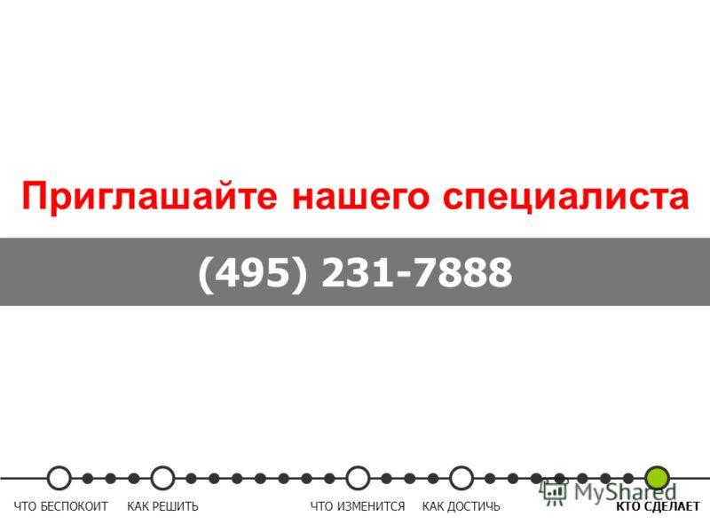 Приглашайте нашего специалиста (495) 231-7888 ЧТО БЕСПОКОИТКАК РЕШИТЬЧТО ИЗМЕНИТСЯКАК ДОСТИЧЬКТО СДЕЛАЕТ