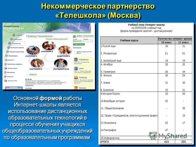 Некоммерческое партнерство «Телешкола» (Москва) Основной формой работы Интернет-школы является использование дистанционных образовательных технологий в процессе обучения учащихся общеобразовательных учреждений по образовательным программам.