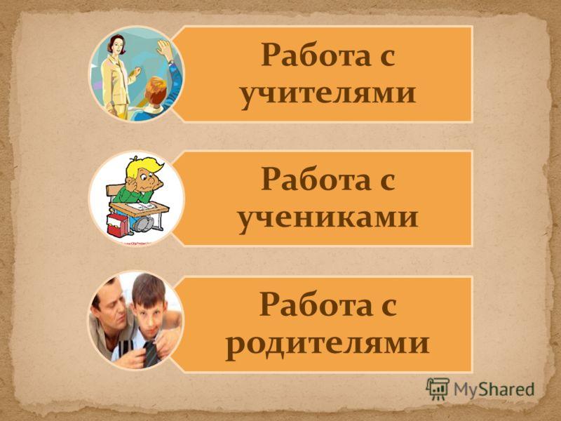 Работа с учителями Работа с учениками Работа с родителями