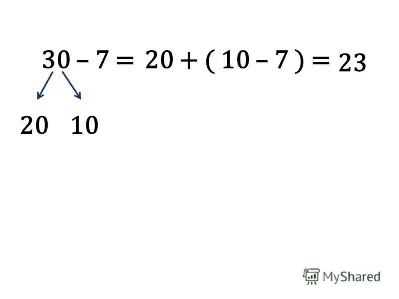 30 – 7 = 2010 20 + ( 10 – 7 ) = 23