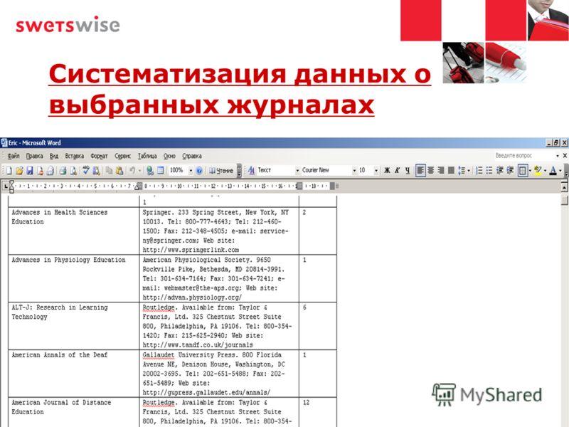 Систематизация данных о выбранных журналах