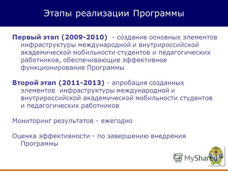 Первый этап (2009-2010) - создание основных элементов инфраструктуры международной и внутрироссийской академической мобильности студентов и педагогических работников, обеспечивающие эффективное функционирование Программы Второй этап (2011-2013) - апр
