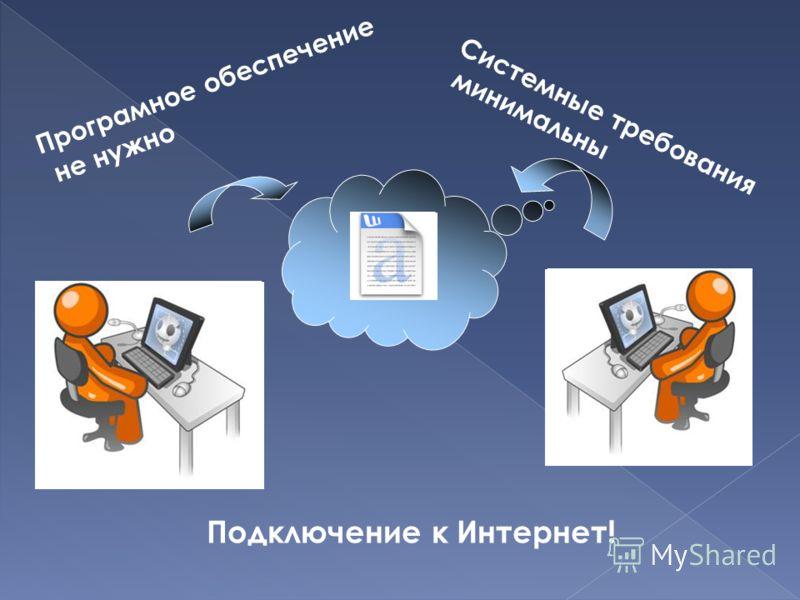 Подключение к Интернет! Програмное обеспечение не нужно Системные требования минимальны