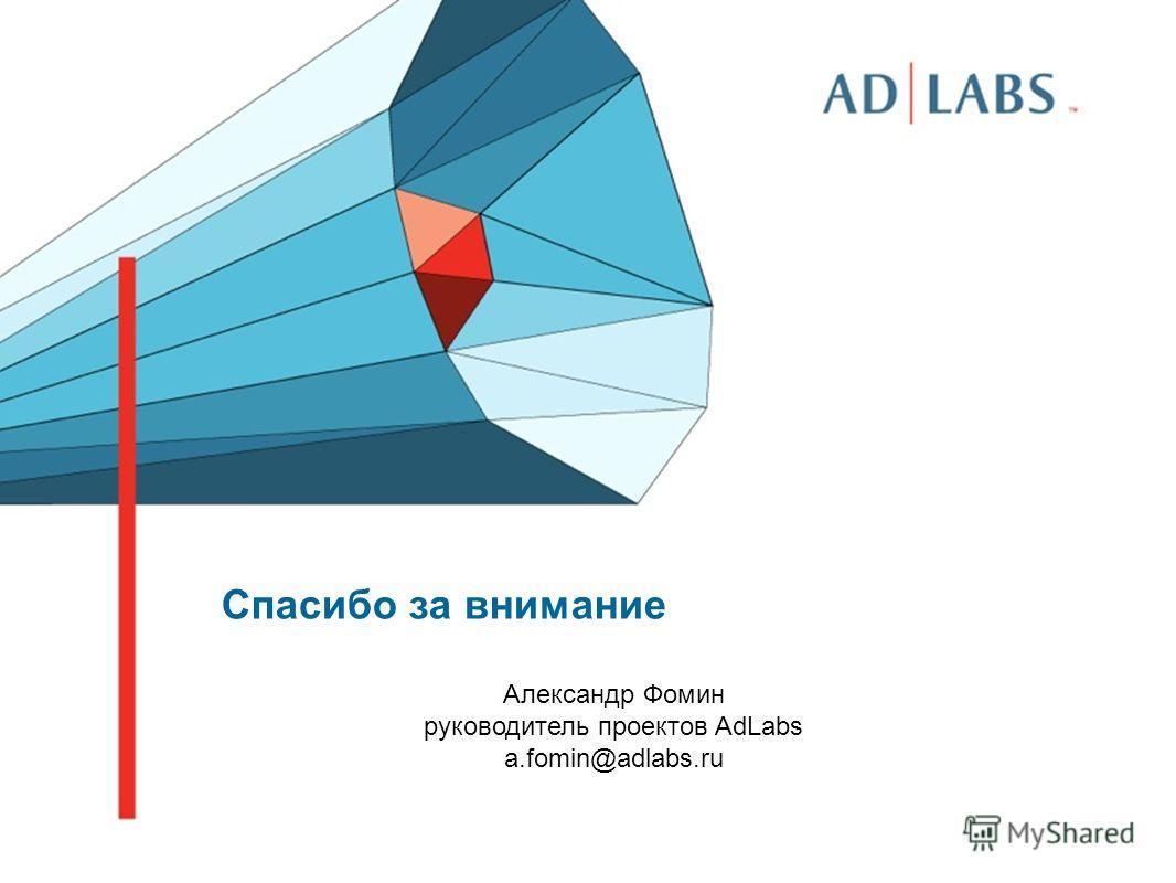 Спасибо за внимание Александр Фомин руководитель проектов AdLabs a.fomin@adlabs.ru