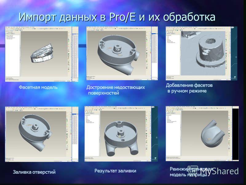 Импорт данных в Pro/E и их обработка Фасетная модельДостроение недостающих поверхностей Добавление фасетов в ручном режиме Заливка отверстий Результат заливки Реинжиниринговая модель матрицы
