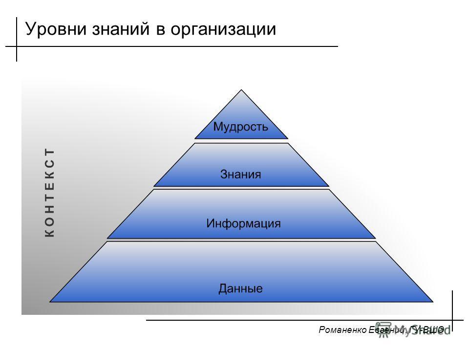 Романенко Евгений, ГУ-ВШЭ Уровни знаний в организации