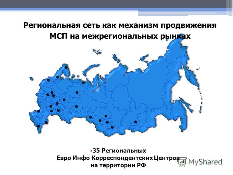 35 Региональных Евро Инфо Корреспондентских Центров на территории РФ Региональная сеть как механизм продвижения МСП на межрегиональных рынках