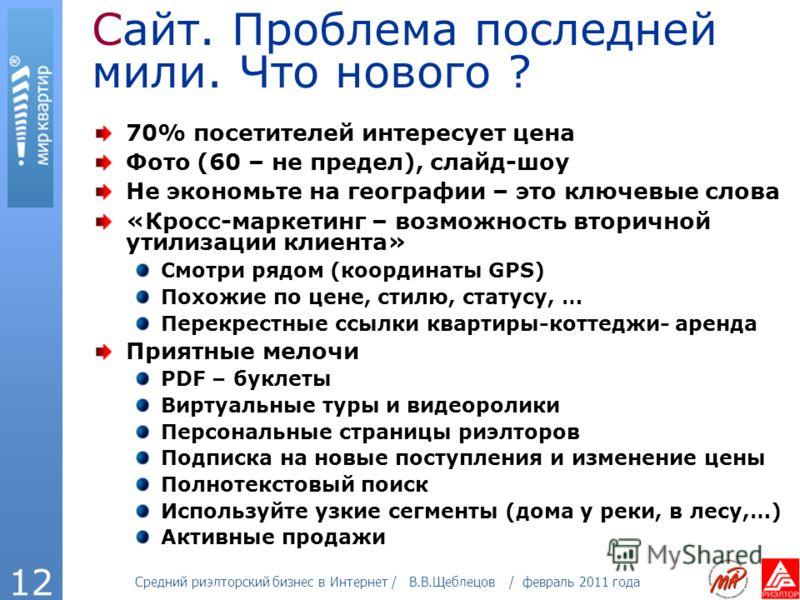 Средний риэлторский бизнес в Интернет / В.В.Щеблецов / февраль 2011 года 12 Сайт. Проблема последней мили. Что нового ? 70% посетителей интересует цена Фото (60 – не предел), слайд-шоу Не экономьте на географии – это ключевые слова «Кросс-маркетинг –