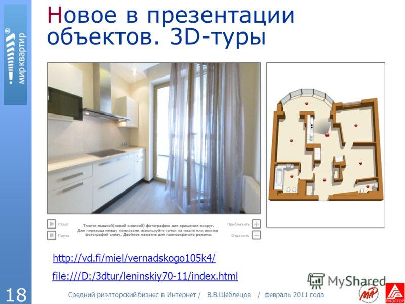 Средний риэлторский бизнес в Интернет / В.В.Щеблецов / февраль 2011 года 18 Новое в презентации объектов. 3D-туры http://vd.fi/miel/vernadskogo105k4/ file:///D:/3dtur/leninskiy70-11/index.html
