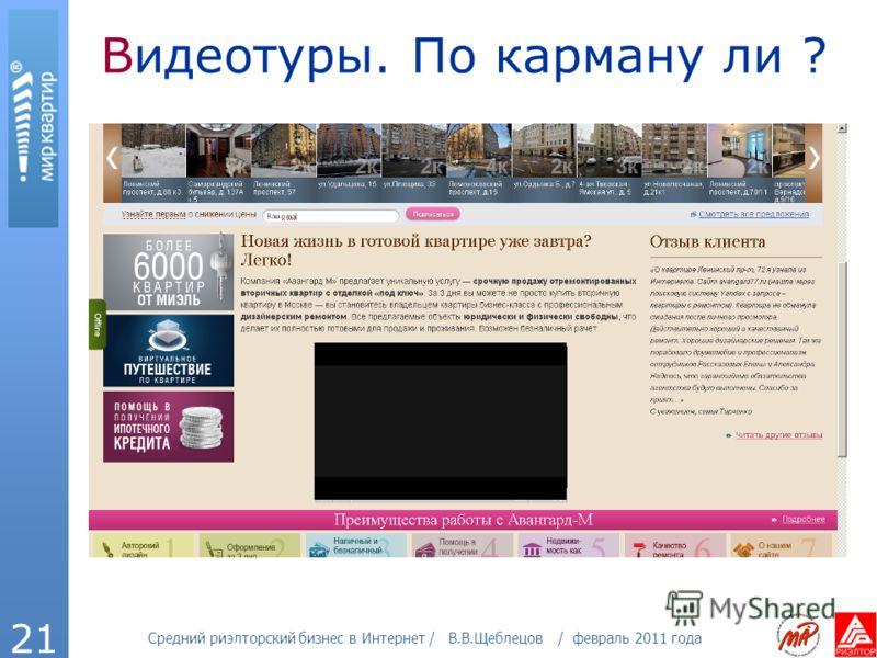 Средний риэлторский бизнес в Интернет / В.В.Щеблецов / февраль 2011 года 21 Видеотуры. По карману ли ?