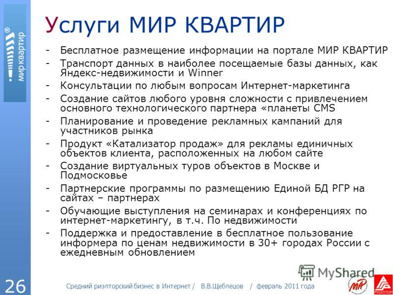 Средний риэлторский бизнес в Интернет / В.В.Щеблецов / февраль 2011 года 26 Услуги МИР КВАРТИР -Бесплатное размещение информации на портале МИР КВАРТИР -Транспорт данных в наиболее посещаемые базы данных, как Яндекс-недвижимости и Winner -Консультаци