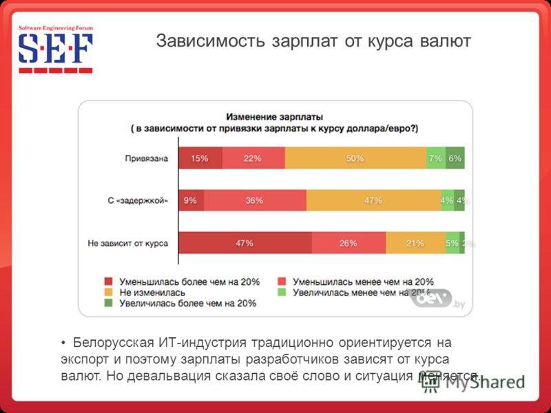 Зависимость зарплат от курса валют Белорусская ИТ-индустрия традиционно ориентируется на экспорт и поэтому зарплаты разработчиков зависят от курса валют. Но девальвация сказала своё слово и ситуация меняется.