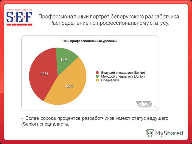 Профессиональный портрет белорусского разработчика. Распределение по профессиональному статусу. Более сорока процентов разработчиков имеют статус ведущего (Senior) специалиста.