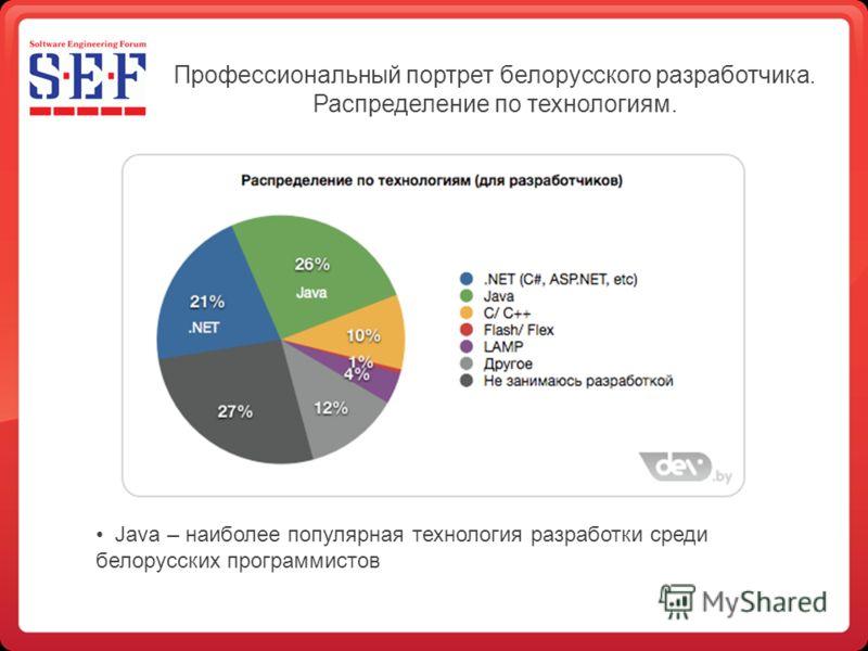 Профессиональный портрет белорусского разработчика. Распределение по технологиям. Java – наиболее популярная технология разработки среди белорусских программистов