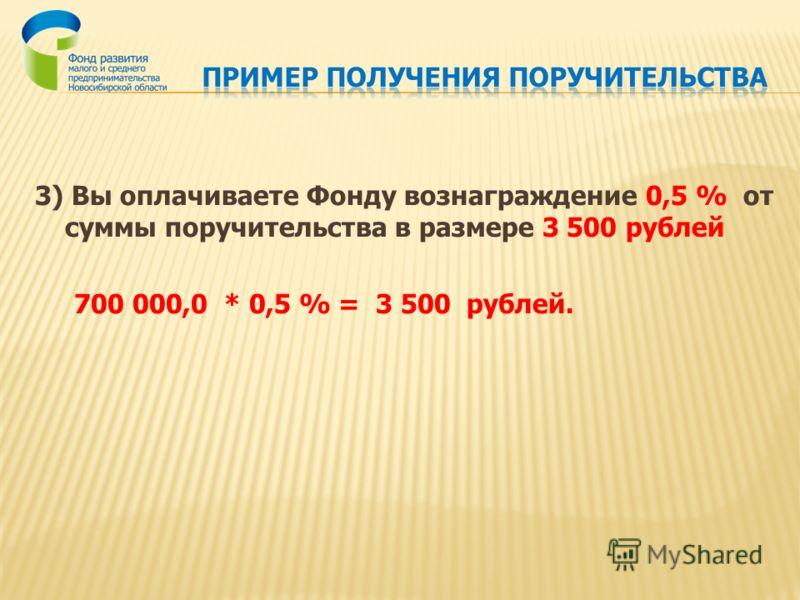 3) Вы оплачиваете Фонду вознаграждение 0,5 % от суммы поручительства в размере 3 500 рублей 700 000,0 * 0,5 % = 3 500 рублей.