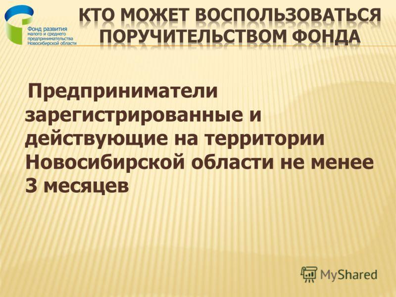Предприниматели зарегистрированные и действующие на территории Новосибирской области не менее 3 месяцев