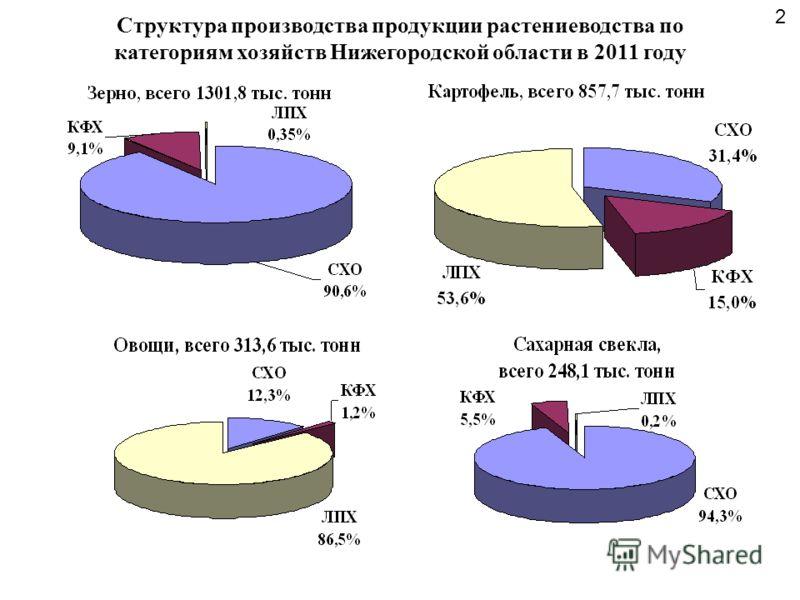 Структура производства продукции растениеводства по категориям хозяйств Нижегородской области в 2011 году 2