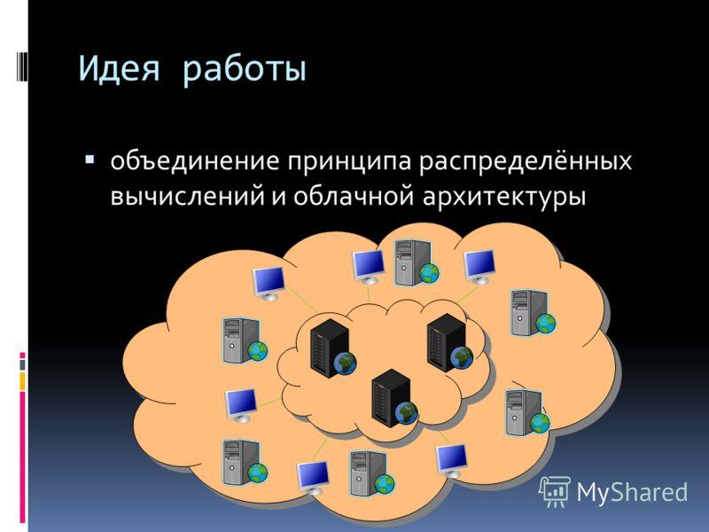 Идея работы объединение принципа распределённых вычислений и облачной архитектуры